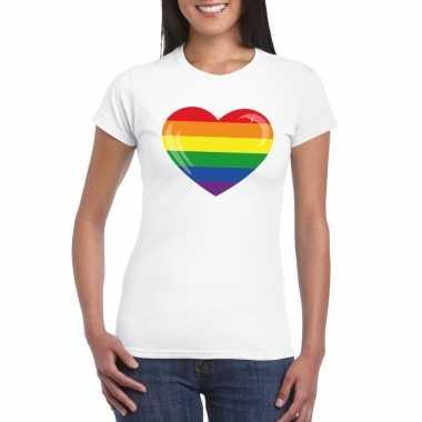 T shirt regenboog vlag hart wit dames carnavalskleding roosendaal