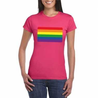 T shirt regenboog vlag roze dames carnavalskleding roosendaal