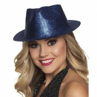 Toppers blauw trilby hoedje glitters dames carnavalskleding roosendaa