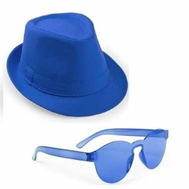 Toppers blauw trilby party hoedje blauwe zonnebril carnavalskleding r