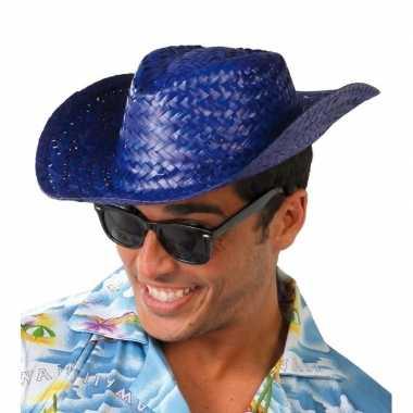 Toppers blauwe cowboy/strohoed volwassenen carnavalskleding roosendaa