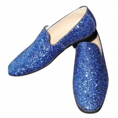 Toppers blauwe glitter pailletten disco instap schoenen heren carnava