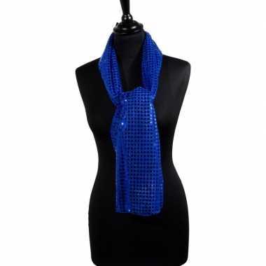 Toppers blauwe glitter pailletten disco sjaal carnavalskleding roosen