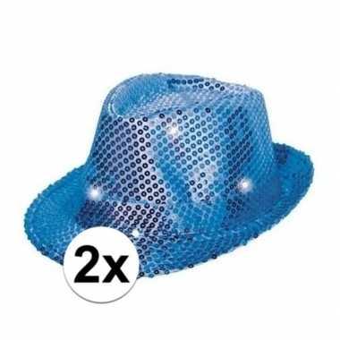 Toppers blauwe pailletten hoedjes led licht carnavalskleding roosenda