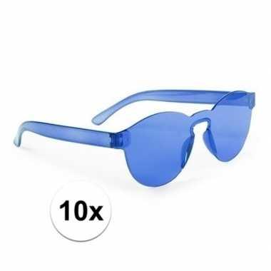 Toppers blauwe verkleed zonnebrillen volwassenen carnavalskleding roo