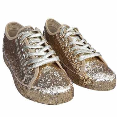 Toppers gouden glitter disco sneakers/schoenen dames carnavalskleding