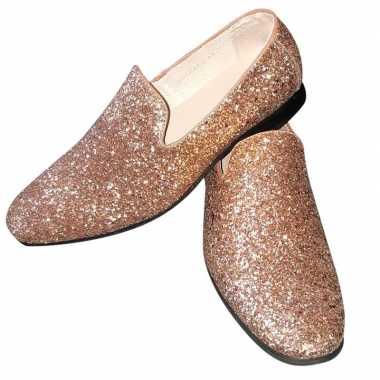 Toppers gouden glitter pailletten disco instap schoenen heren carnava
