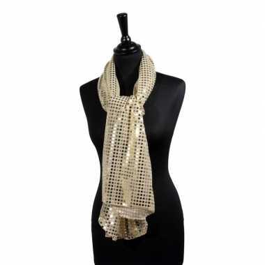 Toppers gouden glitter pailletten disco sjaal carnavalskleding roosen