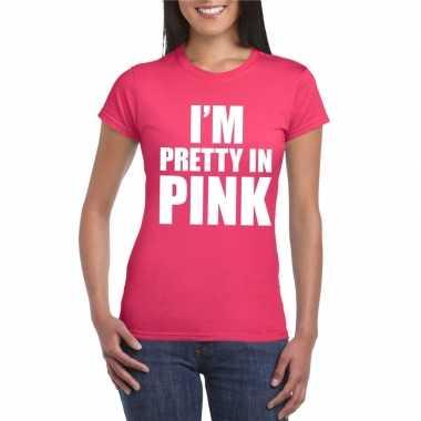 Toppers i am pretty pink shirt roze dames carnavalskleding roosendaal