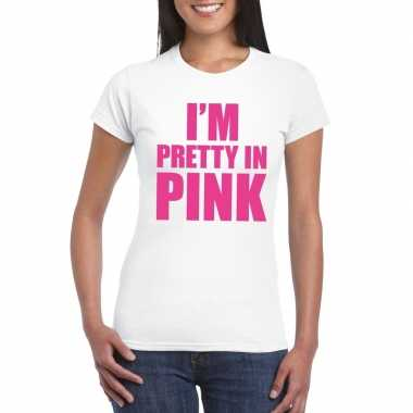 Toppers i am pretty pink shirt wit dames carnavalskleding roosendaal