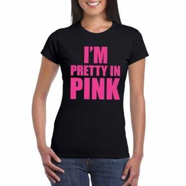 Toppers i am pretty pink shirt zwart dames carnavalskleding roosendaa