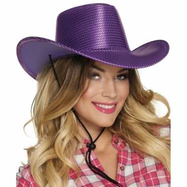 Carnavalskleding toppers paarse cowboyhoed howdy pailletten volwassenen roosendaal