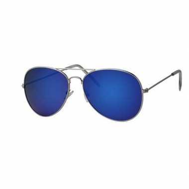 Toppers piloten zonnebril/feestbril blauwe glazen volwassenen carnava