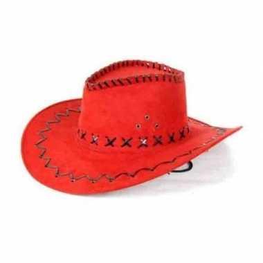 Toppers rode lederlook cowboyhoed volwassenen carnavalskleding roosen