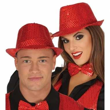 Toppers rode trilby verkleed hoed pailletten volwassenen carnavalskle