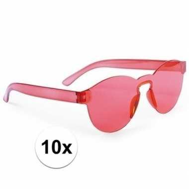 Toppers rode verkleed zonnebrillen volwassenen carnavalskleding roose