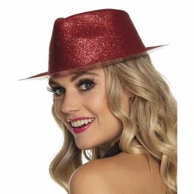 Toppers rood trilby hoedje glitters dames carnavalskleding roosendaal