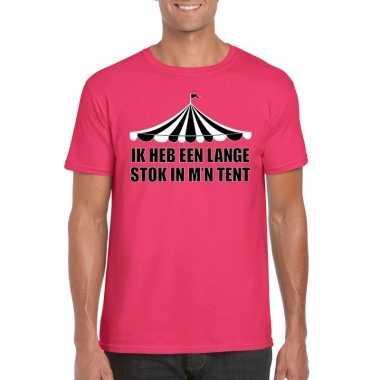 Toppers t shirt roze lange stok heren carnavalskleding roosendaal