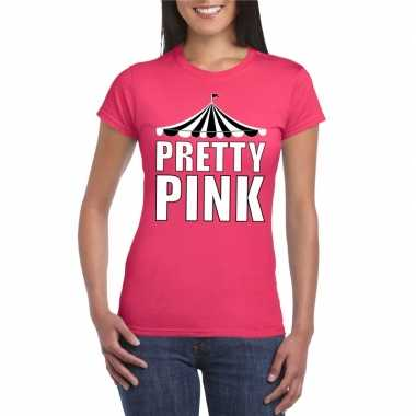 Toppers t shirt roze pretty pink witte letters dames carnavalskleding