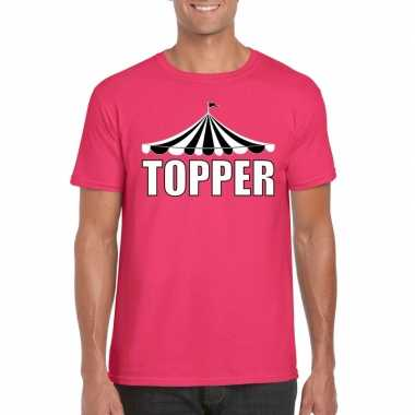 Toppers t shirt roze topper witte letters heren carnavalskleding roos