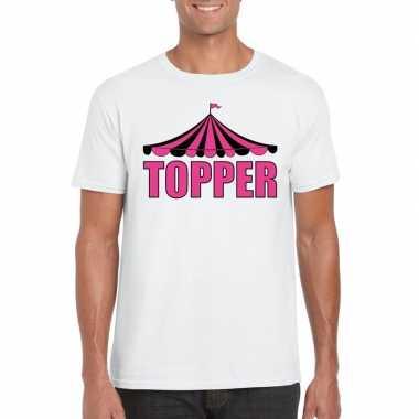 Toppers t shirt wit topper roze letters heren carnavalskleding roosen