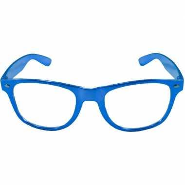Toppers verkleed bril metallic blauw carnavalskleding roosendaal