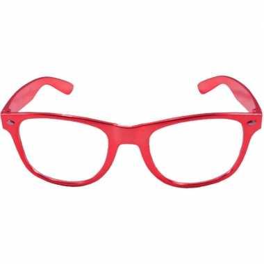 Toppers verkleed bril metallic rood carnavalskleding roosendaal