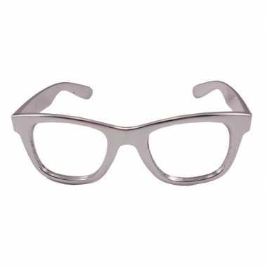Toppers verkleed bril metallic zilver carnavalskleding roosendaal