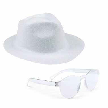 Toppers wit trilby glitter party hoedje transparante zonnebril carnav