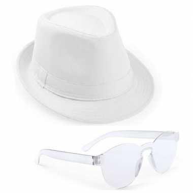 Toppers wit trilby party hoedje transparante zonnebril carnavalskledi