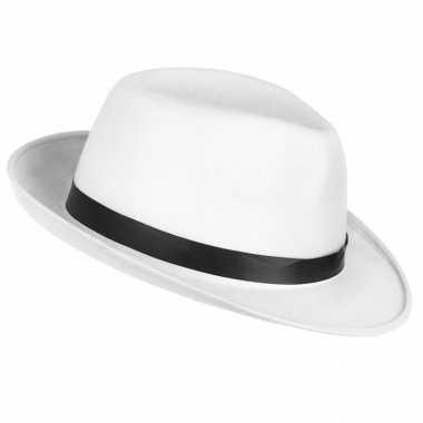 Toppers witte maffia gangster hoed volwassenen carnavalskleding roose