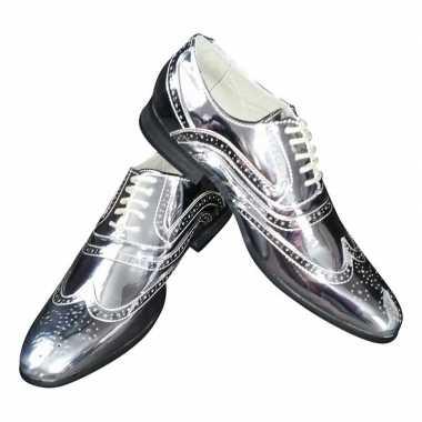 Toppers zilveren glimmende brogues/disco schoenen heren carnavalskled