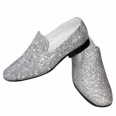Toppers zilveren glitter pailletten disco instap schoenen heren carna