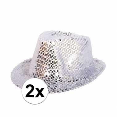 Toppers zilveren trilby glitter party hoedjes pailletten carnavalskle