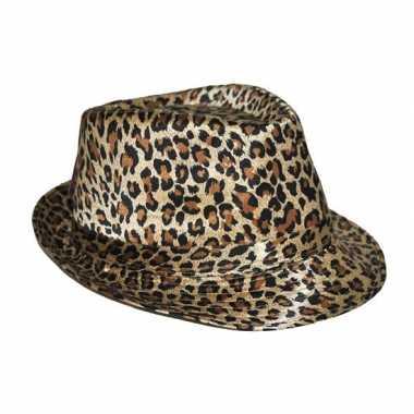Carnavalskleding trilby hoedje luipaard print roosendaal 10054365