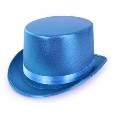 Turquoise blauwe hoge hoed metallic volwassenen carnavalskleding roos