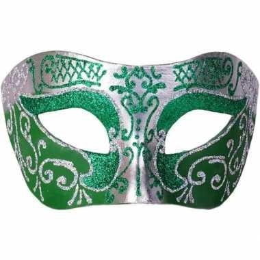 Venetiaans glitter oogmasker groen/zilver carnavalskleding roosendaal