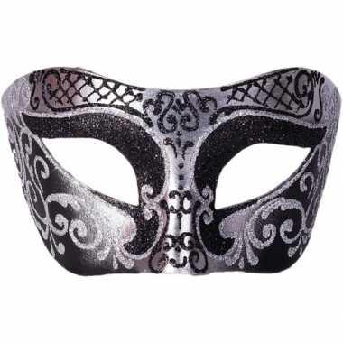 Venetiaans glitter oogmasker zwart/zilver carnavalskleding roosendaal