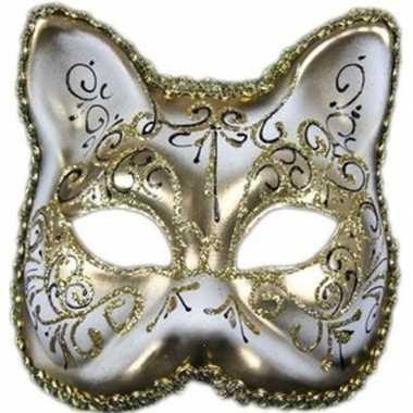 Venetiaans katten/poezen gezichtsmasker wit/goud carnavalskleding roo