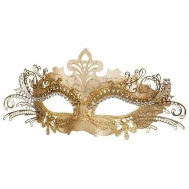 Venetiaans kunststof oogmasker goud carnavalskleding roosendaal