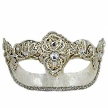 Venetiaans oogmasker colombina zilver carnavalskleding roosendaal