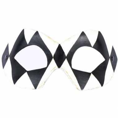 Venetiaans oogmasker harlekijn zwart/wit carnavalskleding roosendaal