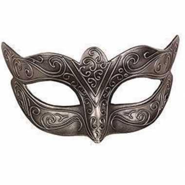 Venetiaans zilver kunststof oogmasker carnavalskleding roosendaal
