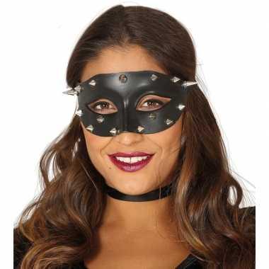 Venetiaans zwart oogmasker studs dames carnavalskleding roosendaal