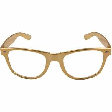 Verkleed bril metallic goud carnavalskleding roosendaal