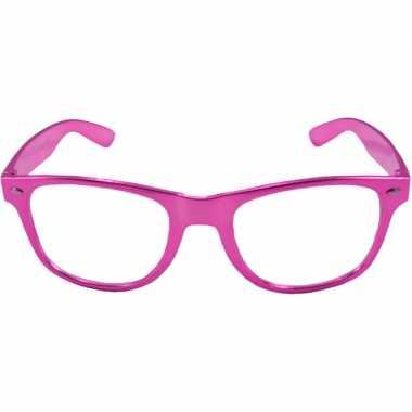 Verkleed bril metallic roze carnavalskleding roosendaal