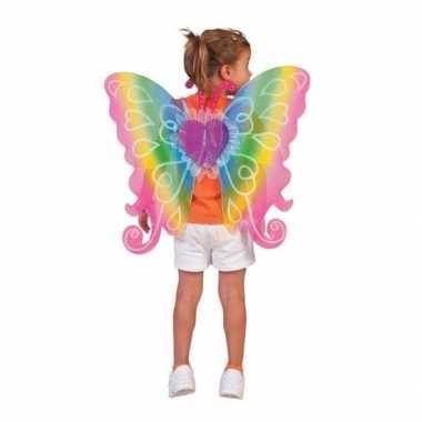 Verkleed vlinder vleugels kinderen regenboog carnavalskleding roosend