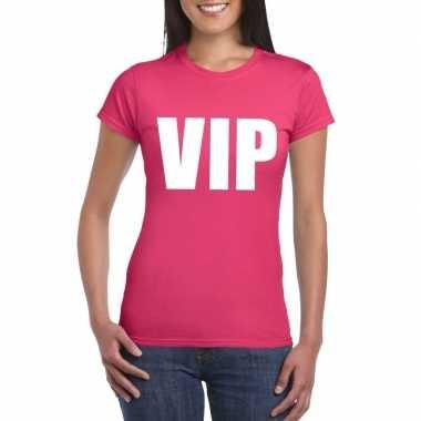 Vip tekst t shirt roze dames carnavalskleding roosendaal