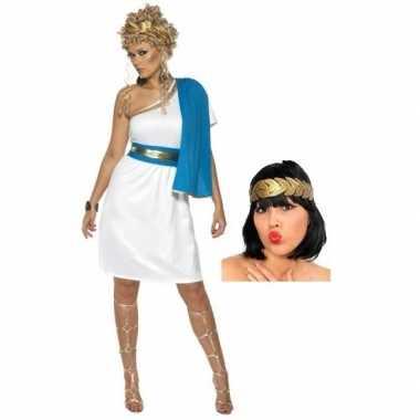 Wit blauw romeins jurkje inclusief lauwerkrans maat s carnavalskledin