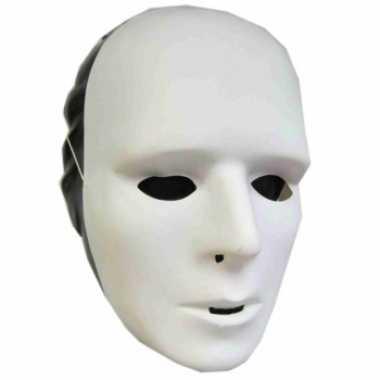Carnavalskleding wit grimeer masker plastic roosendaal